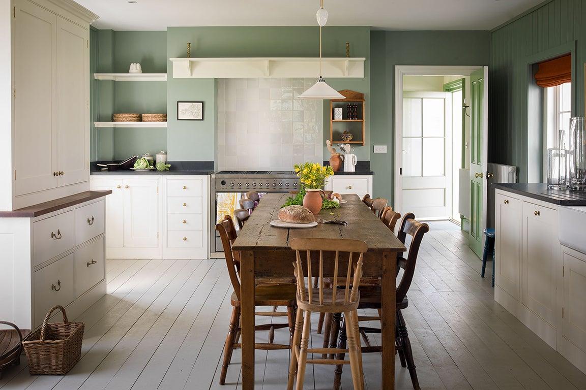 green farmhouse kitchen walls