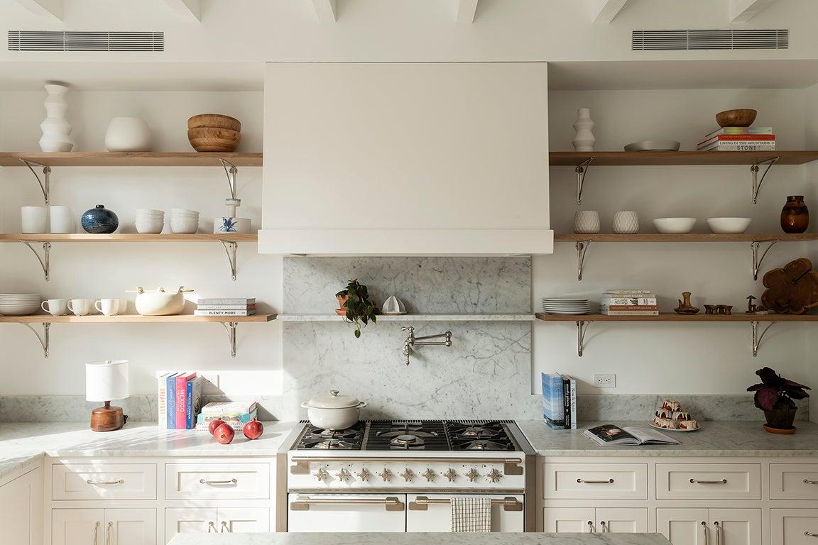 white kitchen range hood