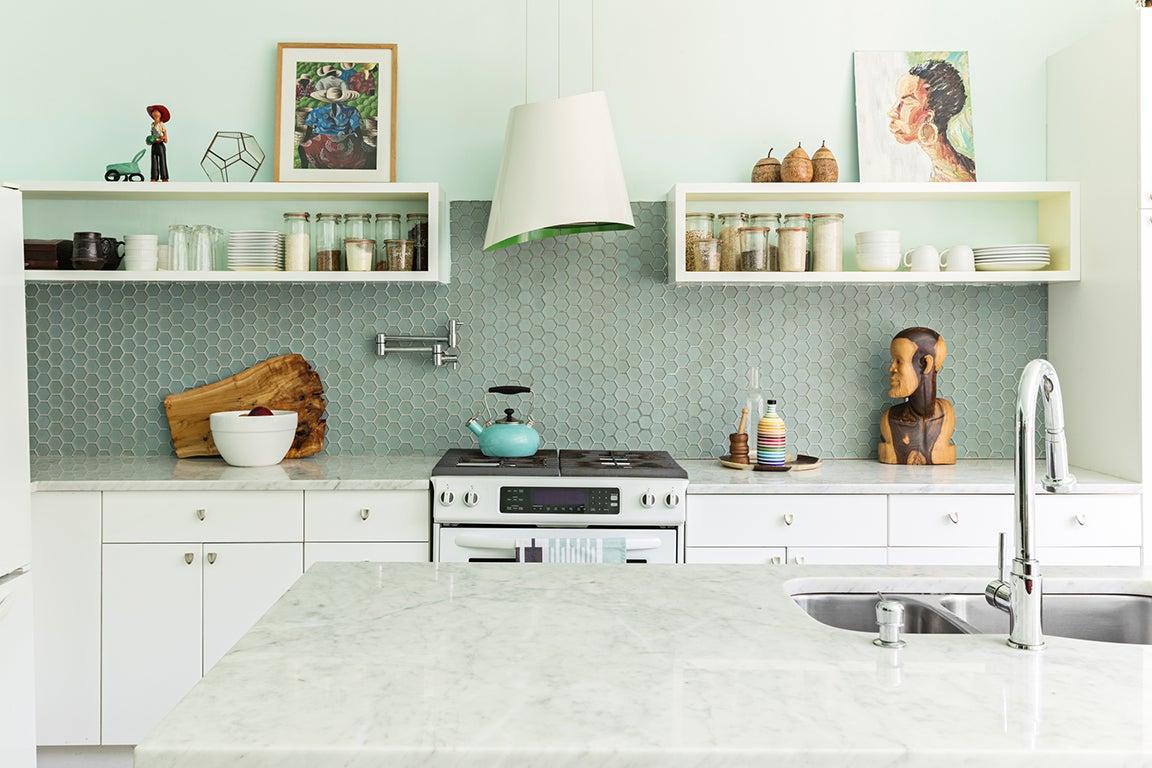 tropical blue green kitchen