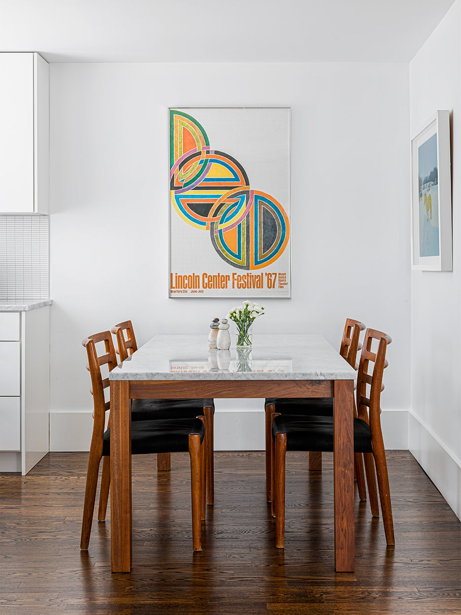 white and wood dining table