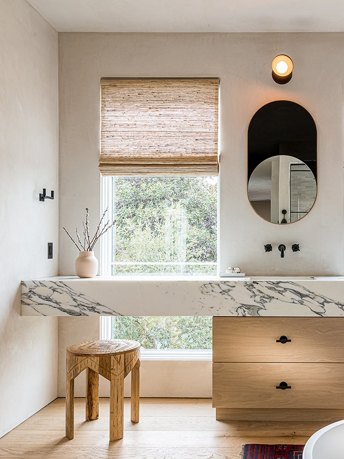 stone vanity with wood cabiinets