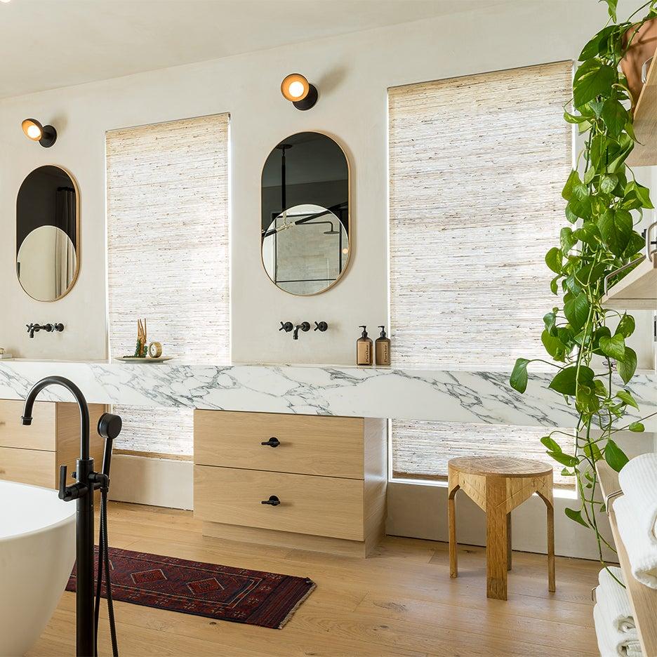 wood and marble bathroom vanity