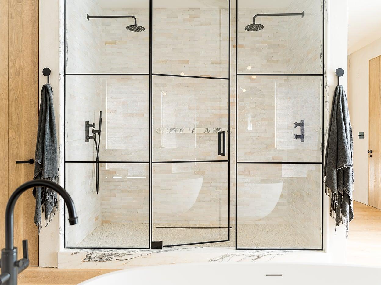 steel framed glass shower