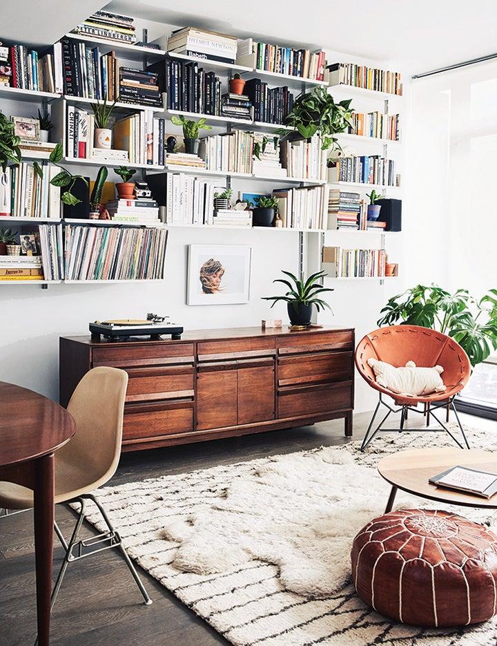 living room with book shelf