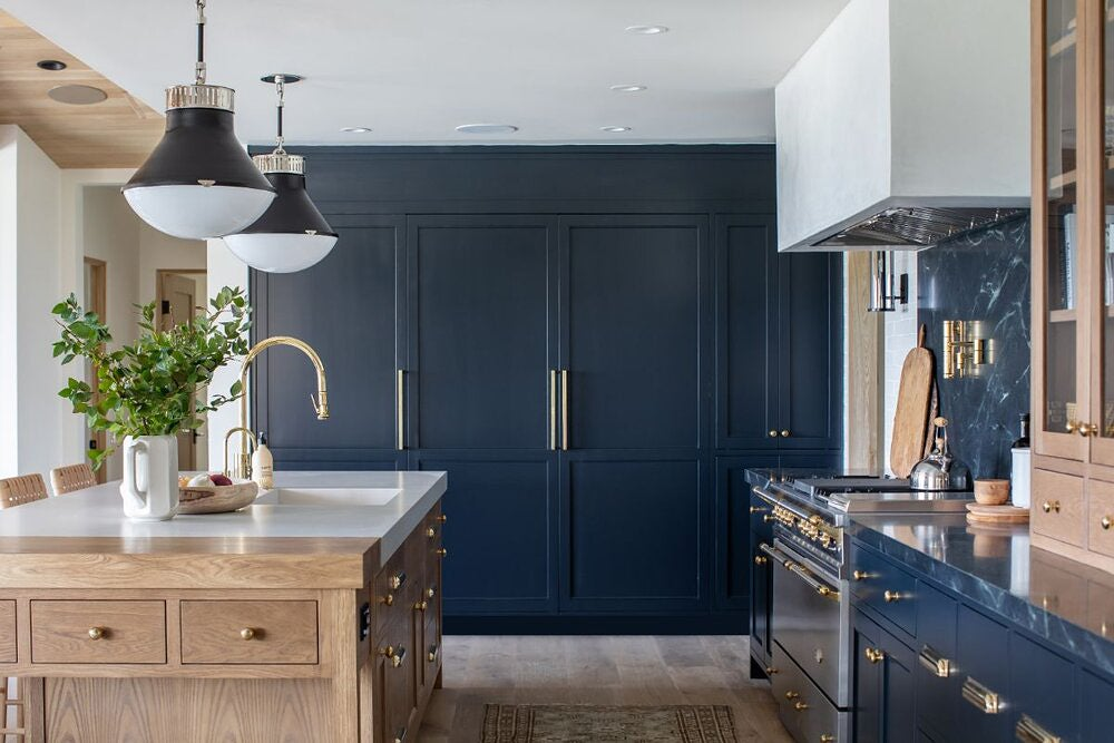 dark blue wall of cabinets