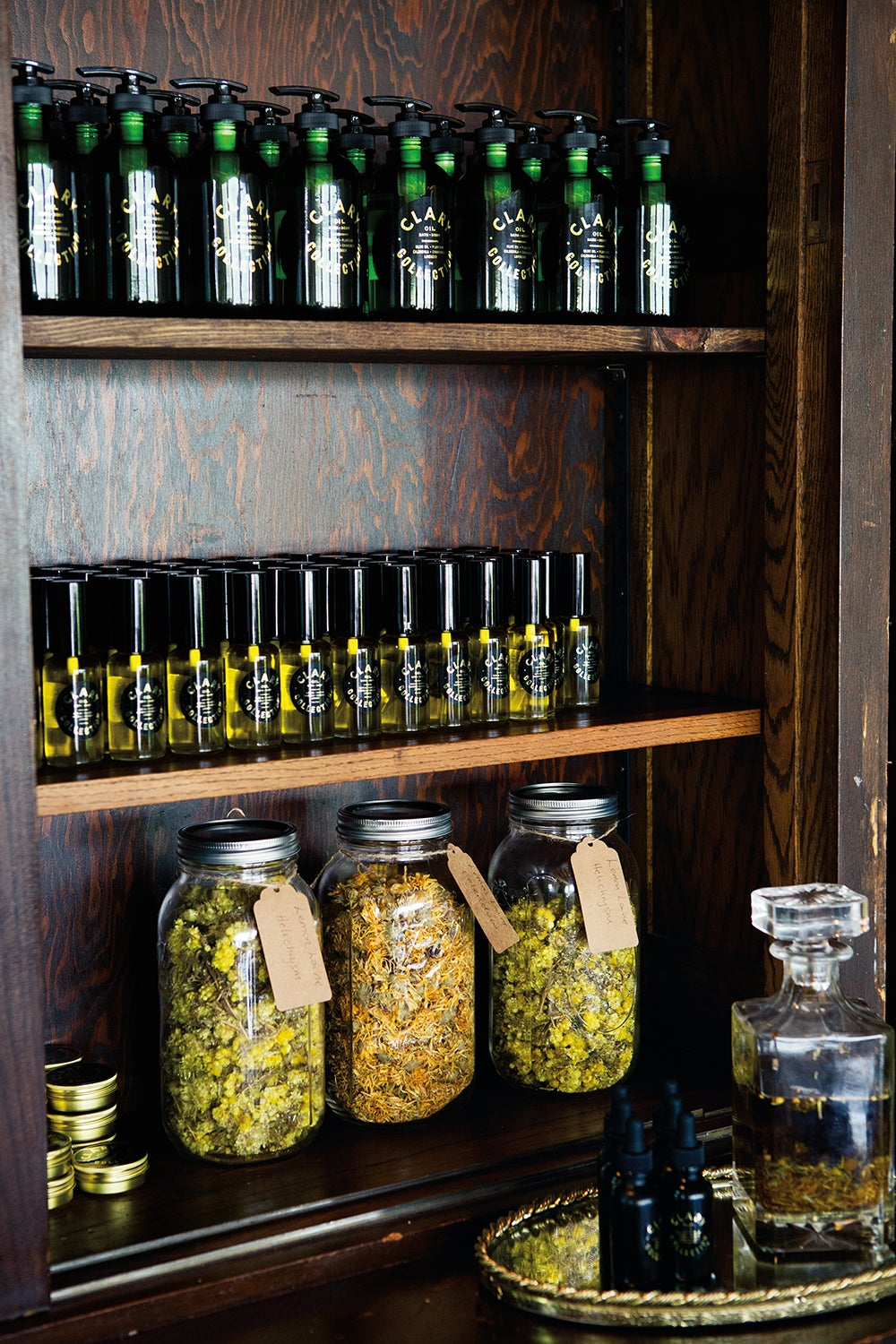 jarred spices in glass containters