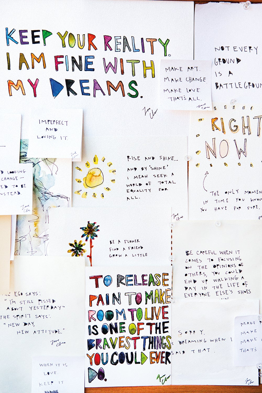 mood board with inspiring quotes