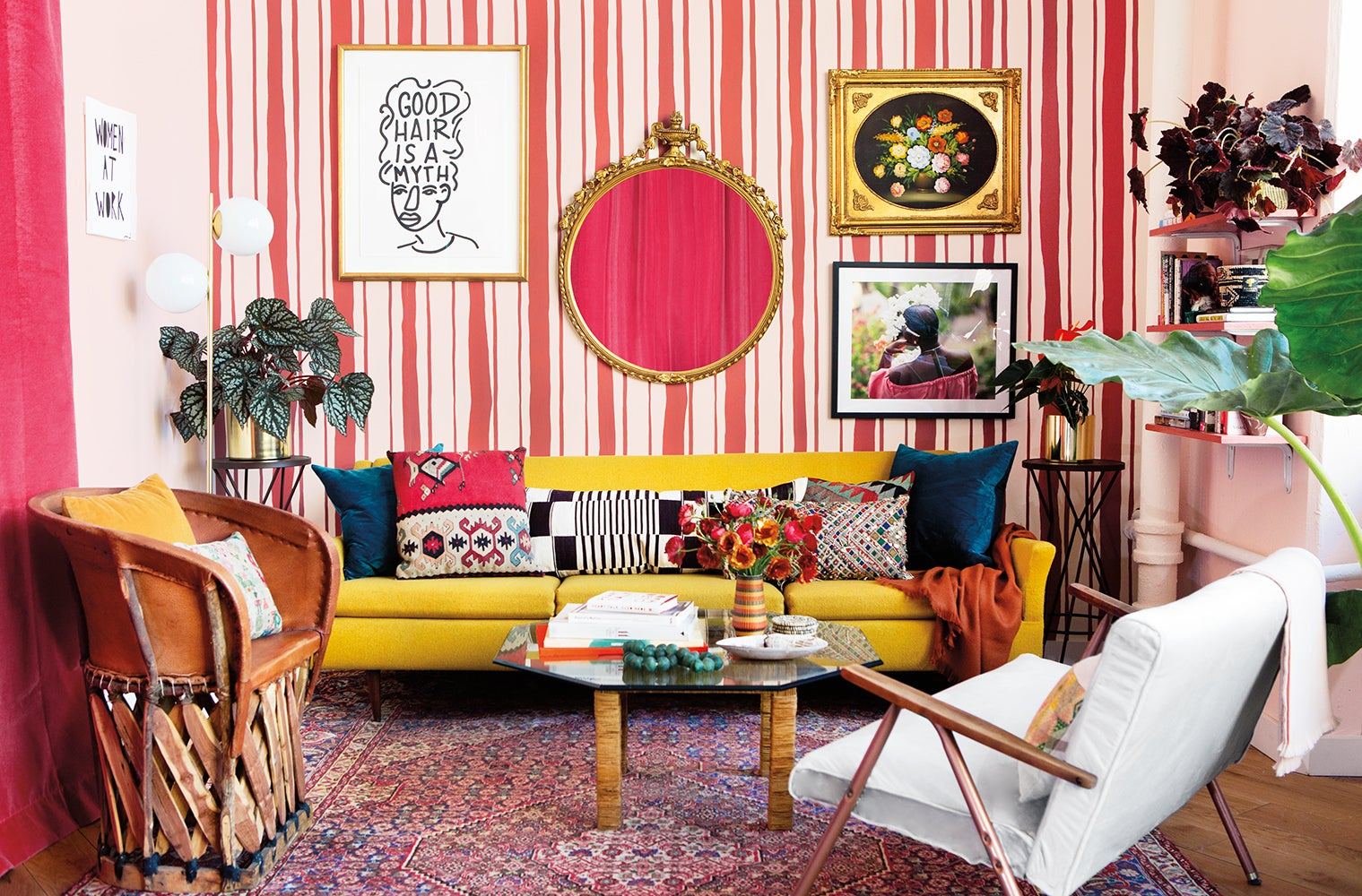 pink striped living room