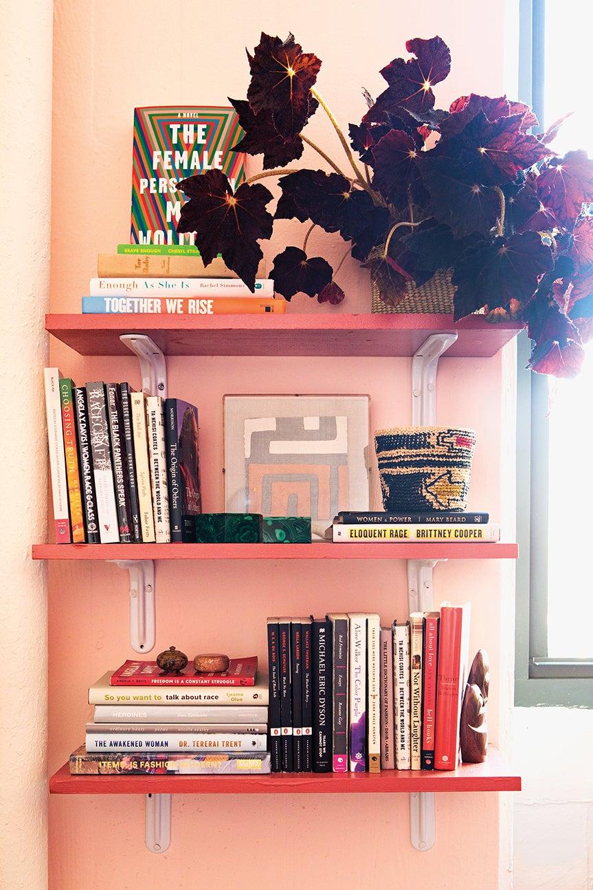 pink bookshelf with plant