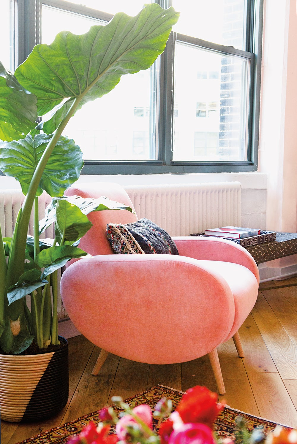 pink chair in pink room