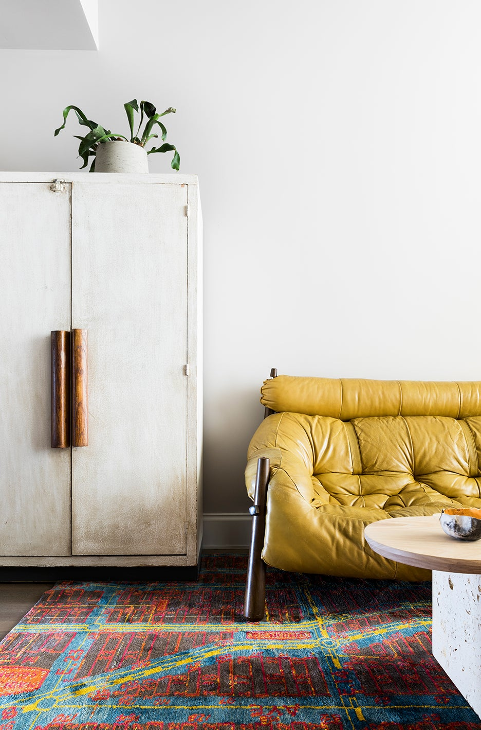 a sofa and cabinet