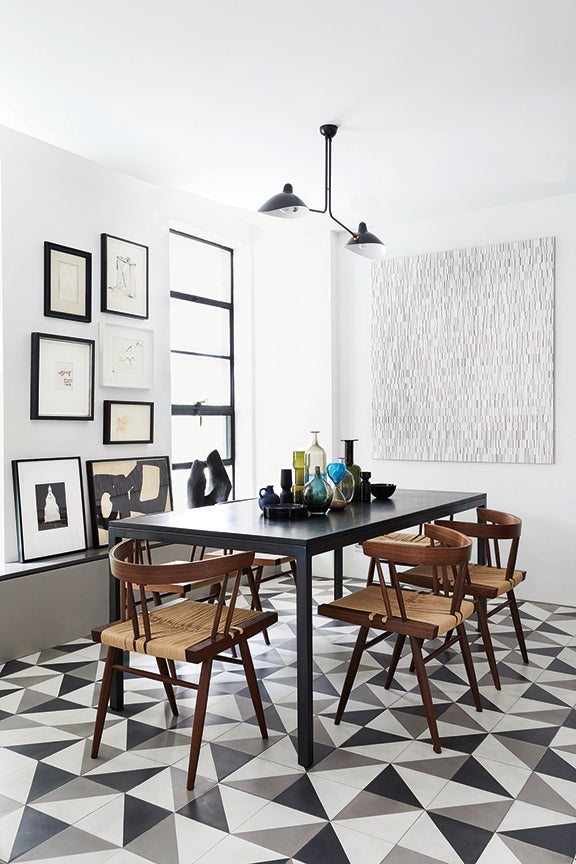 dining room with floor tiles