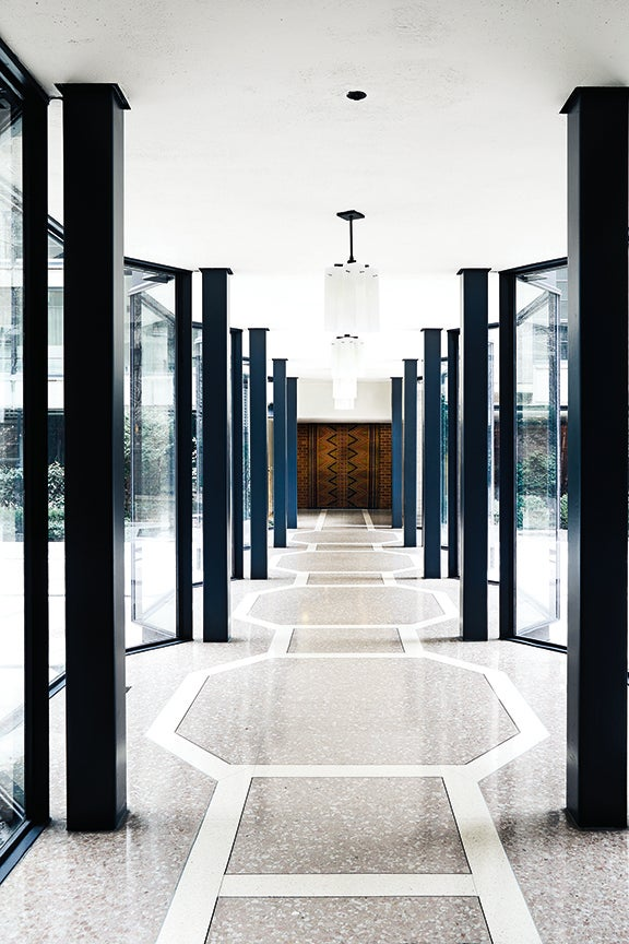 glass lobby of building