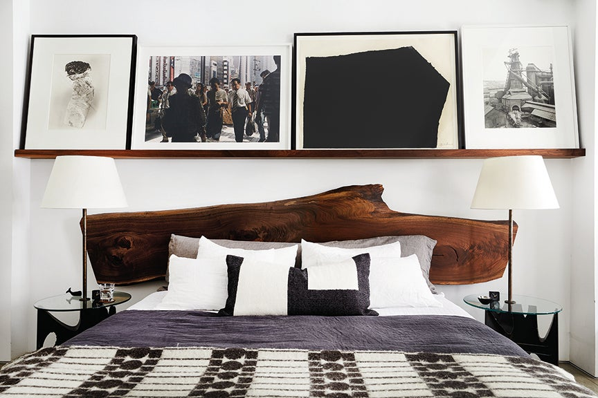 bedroom with artwork