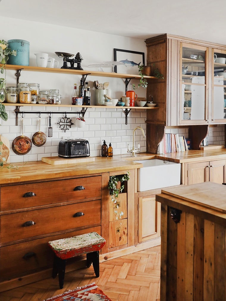natural wood kitchen with used cabinets