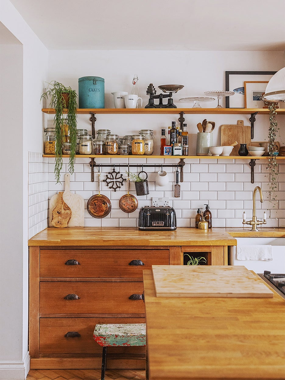 natural wood kitchen with open shelving