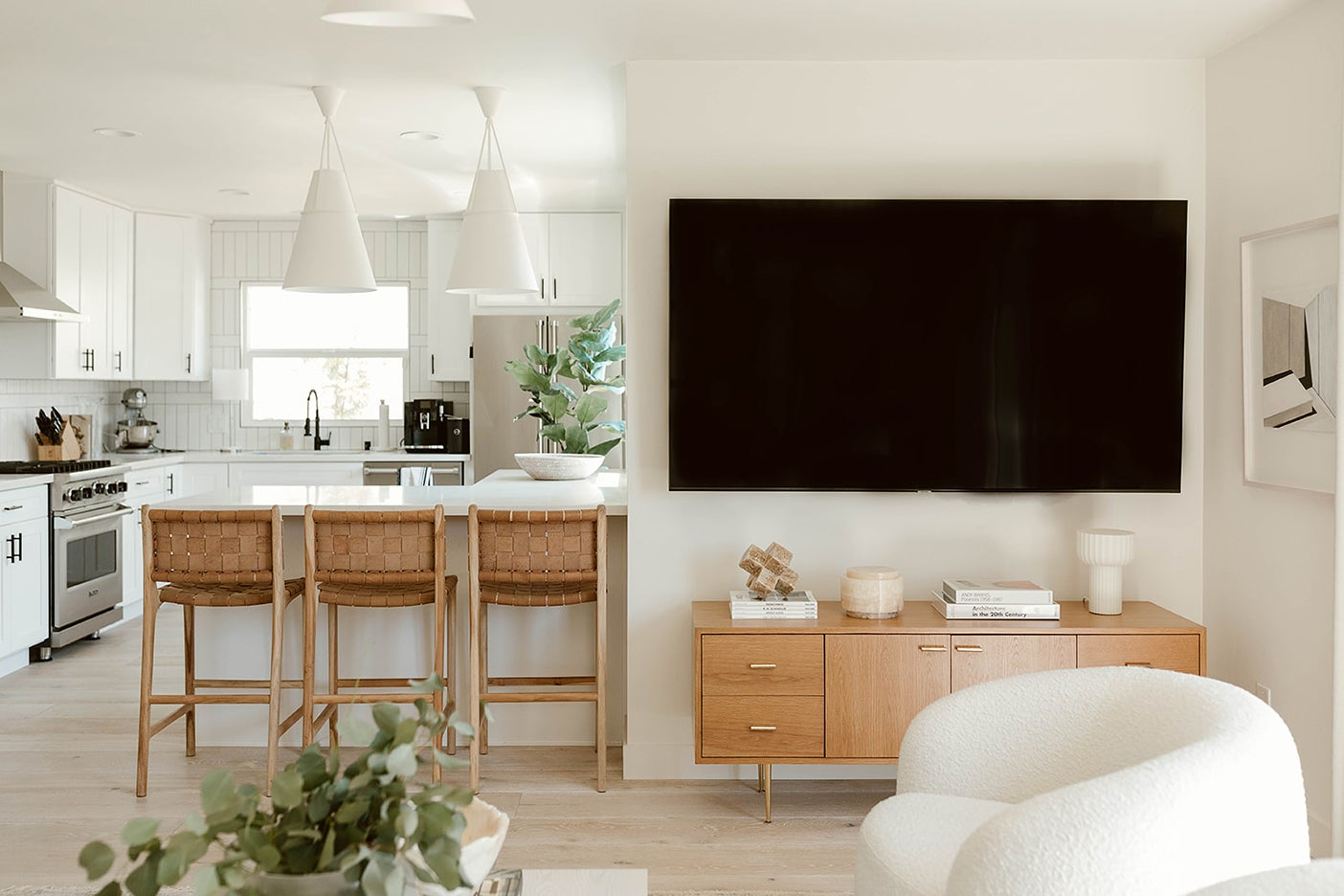 tv over console table