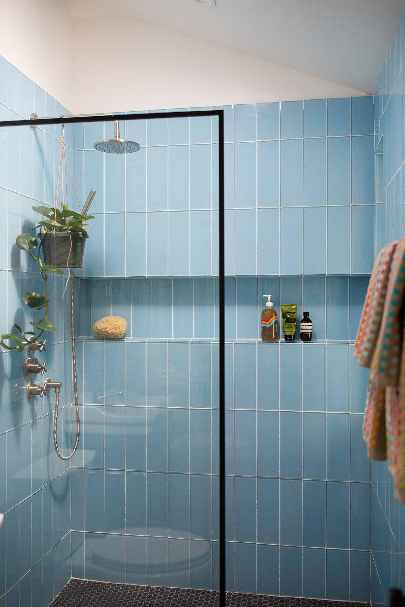 blue tiled shower