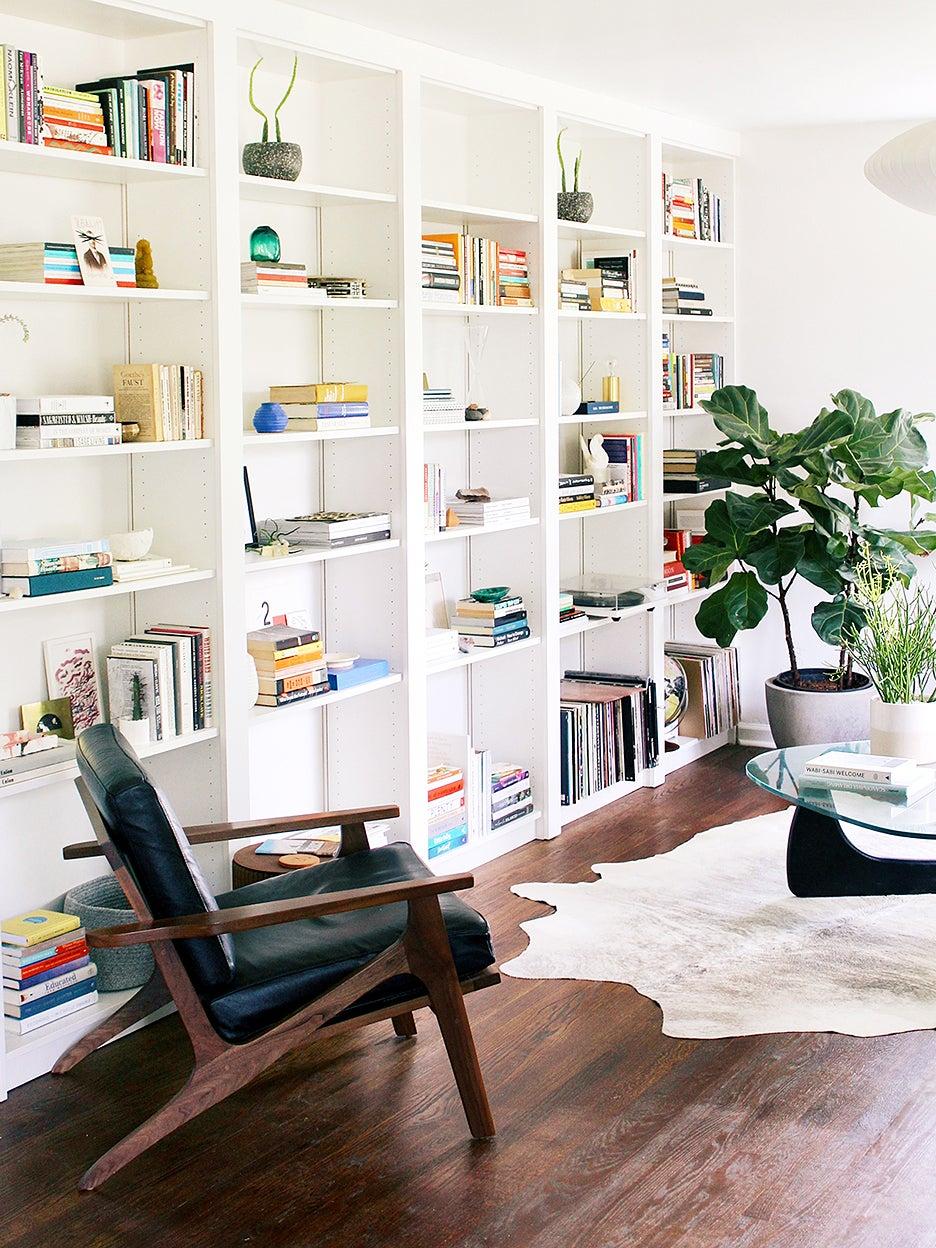 white modern bookcases