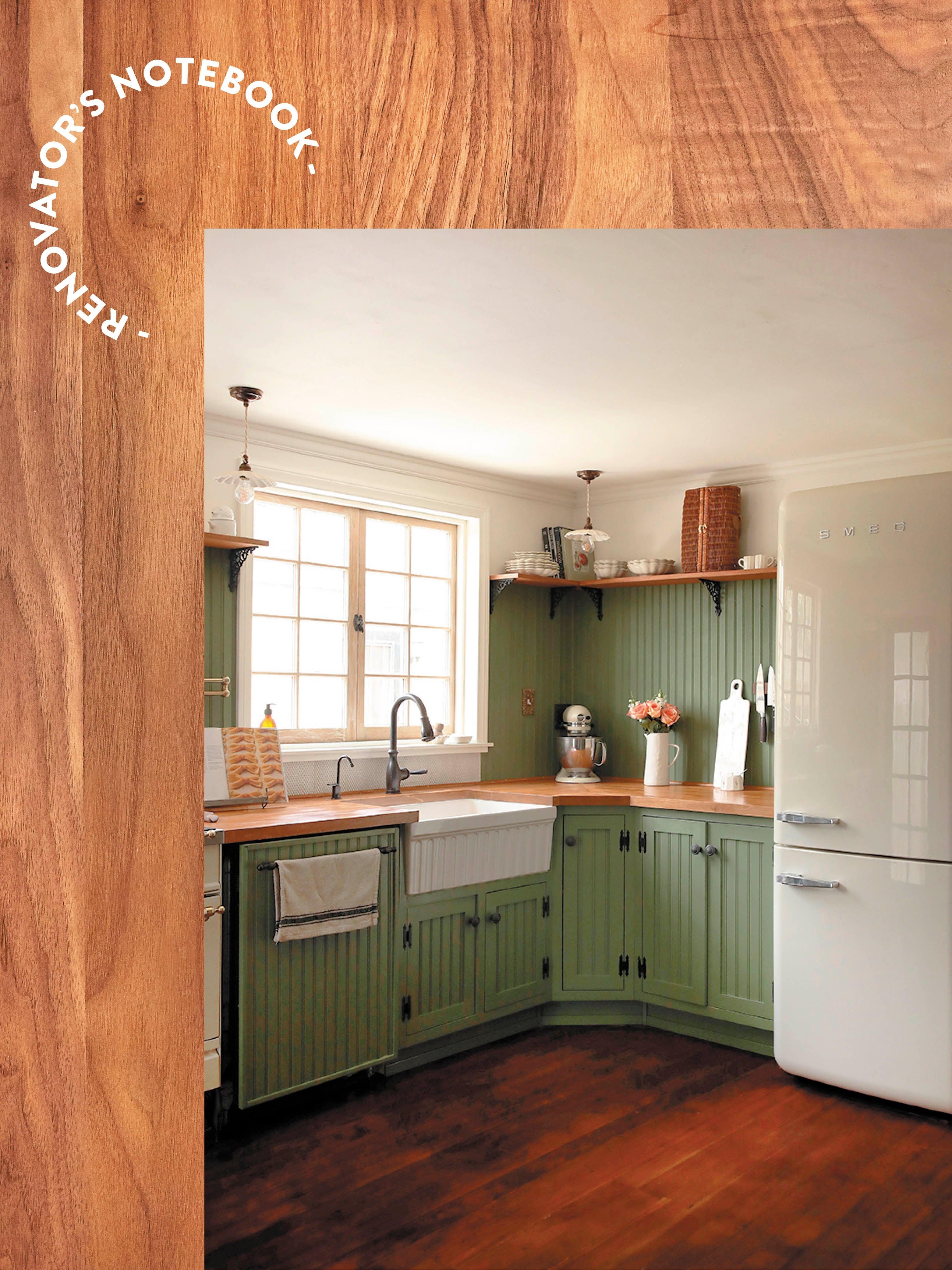 green kitchen on wood background