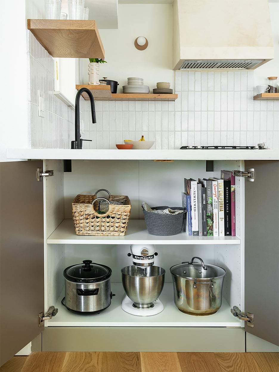 small kitchen appliances in lower cabinet