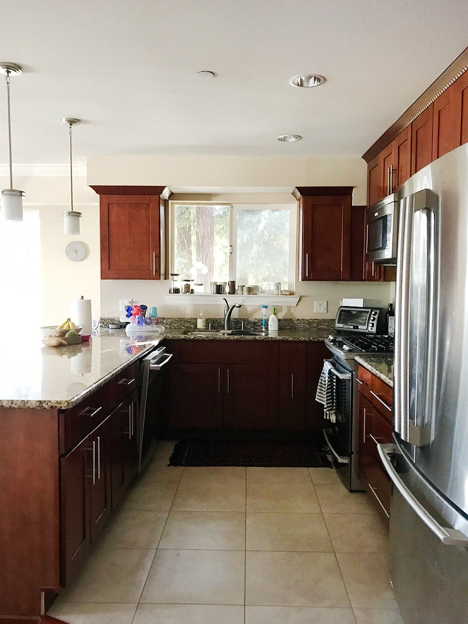 dated cherry wood kitchen