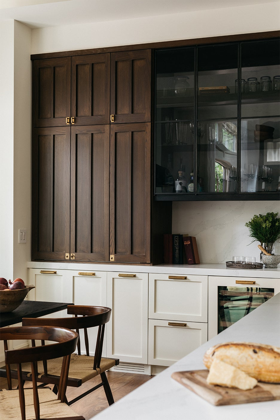 wood white and black cabinets