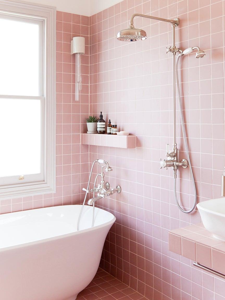 pink square tile bathroom
