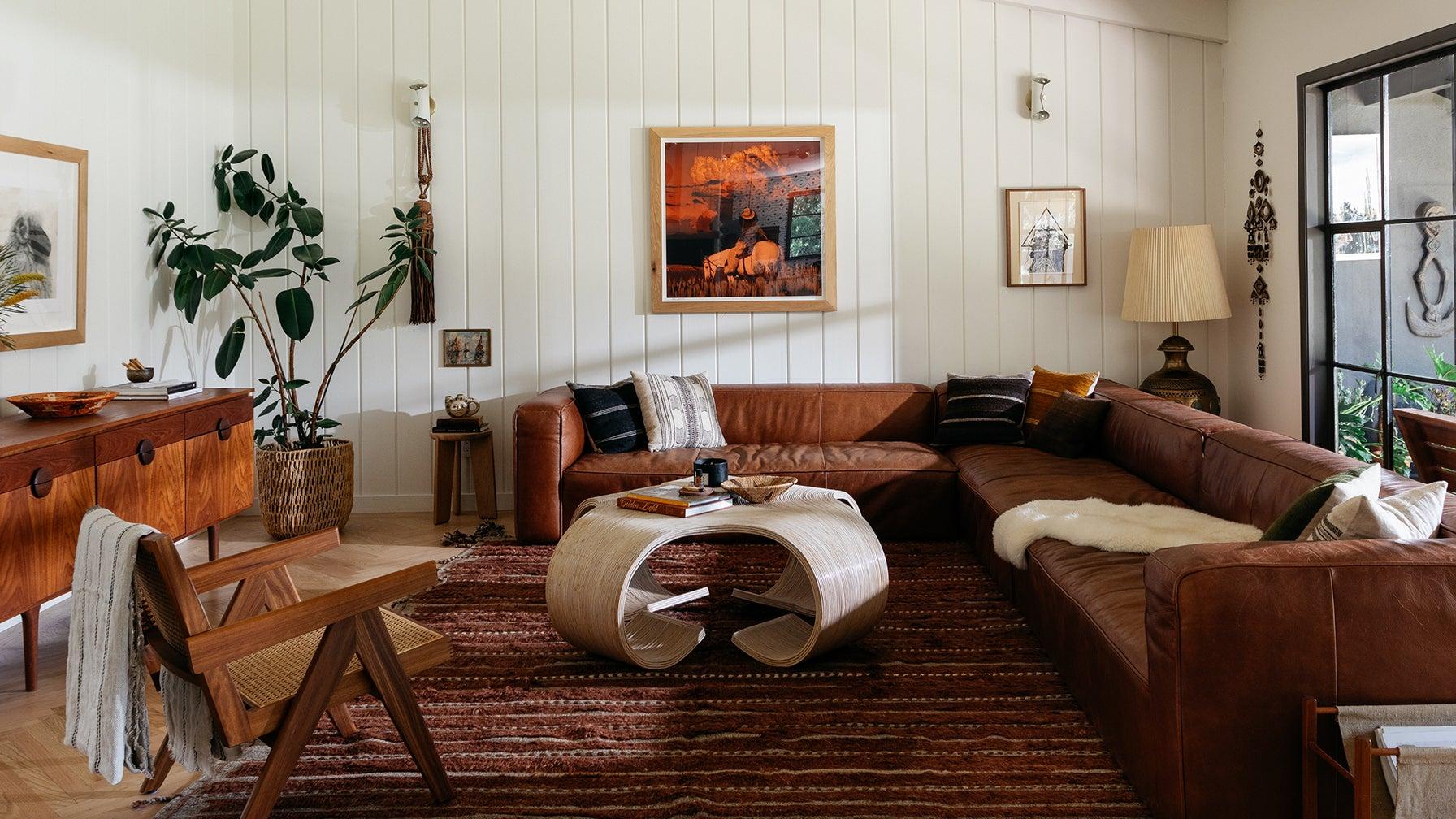 cozy leather soa living room