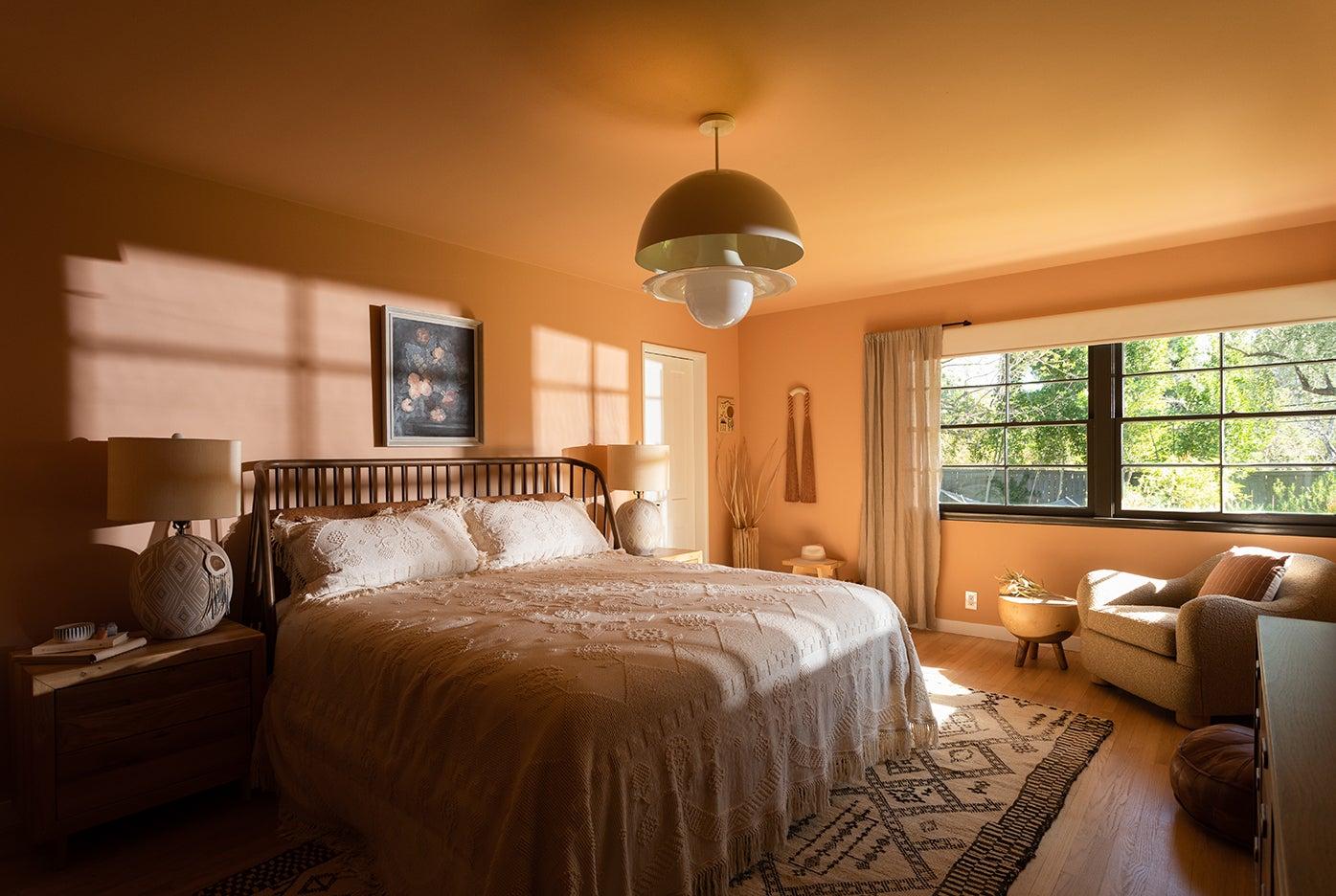 peach bedroom walls