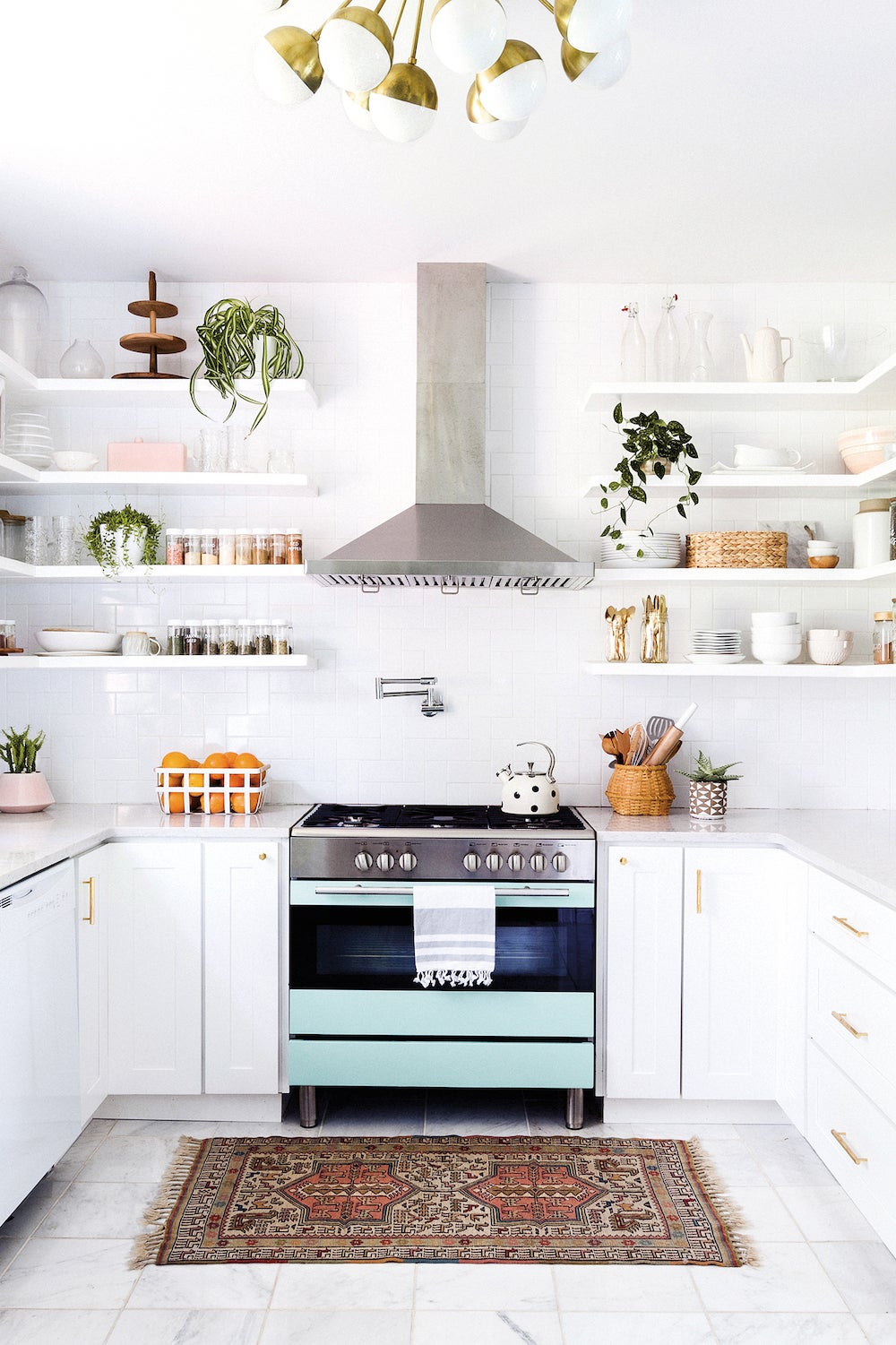kitchen with mint stove