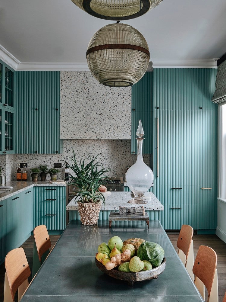 ribbed blue cabinets