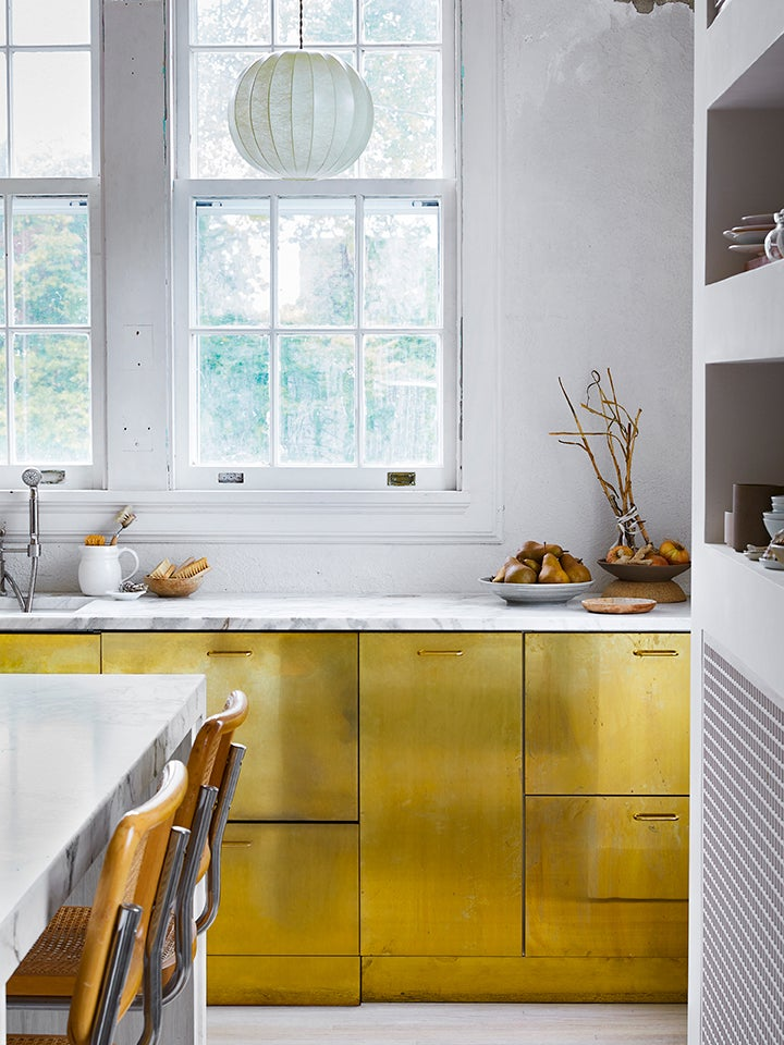 brass lower cabinets