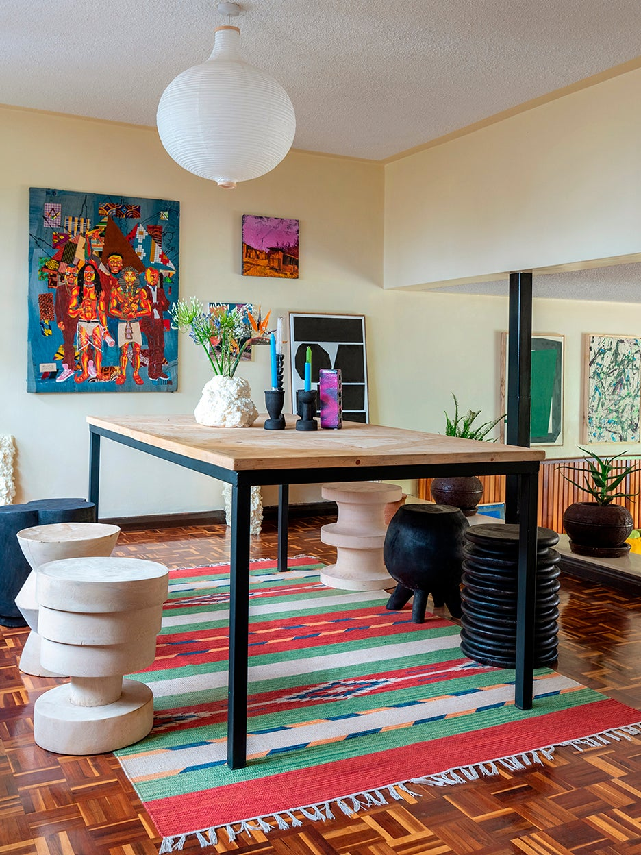 dining room with mismatched stools