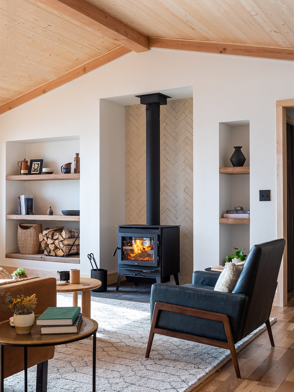 wood-burning stove in airy living room