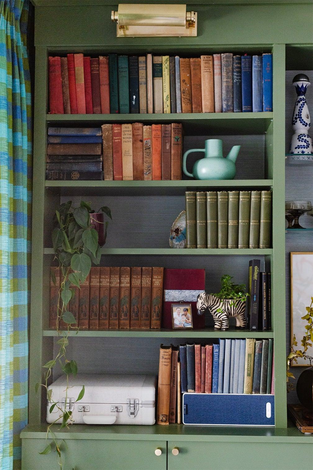 books on green shelves