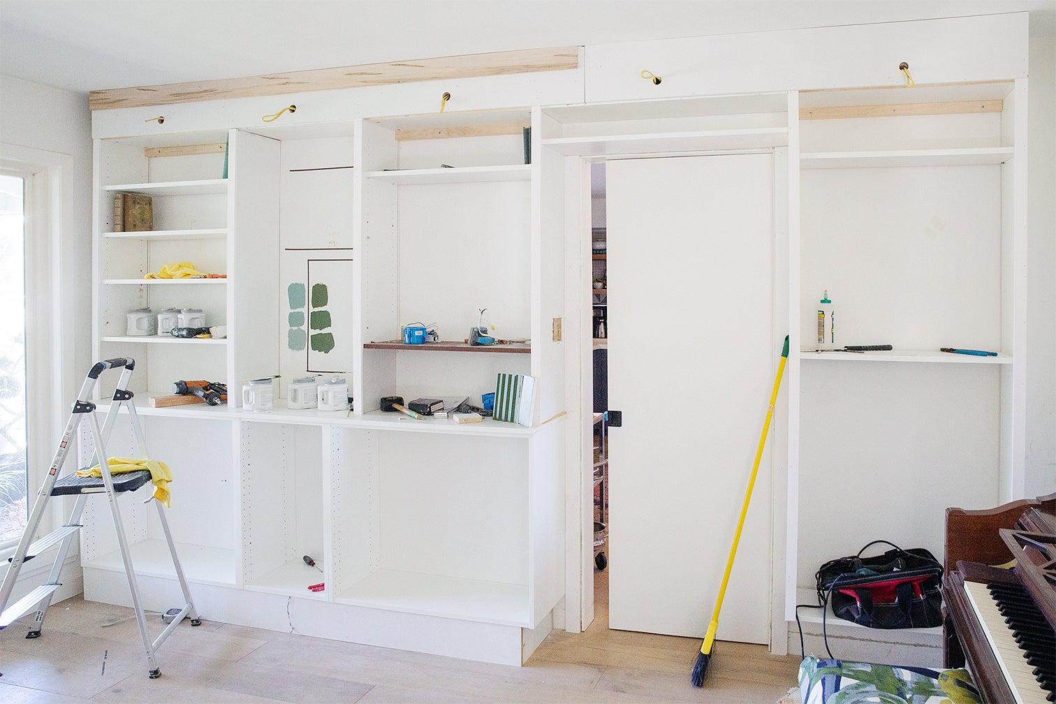 white built ins in progress