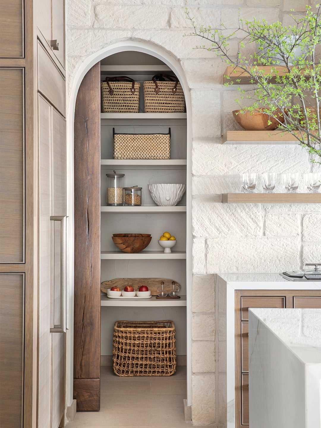 kitchen archway leading to pantry