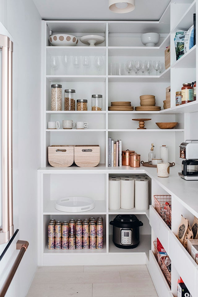white kitchen pantry with drawers