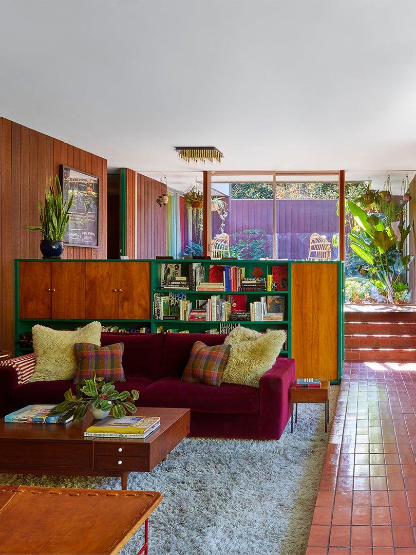 retro wood living room