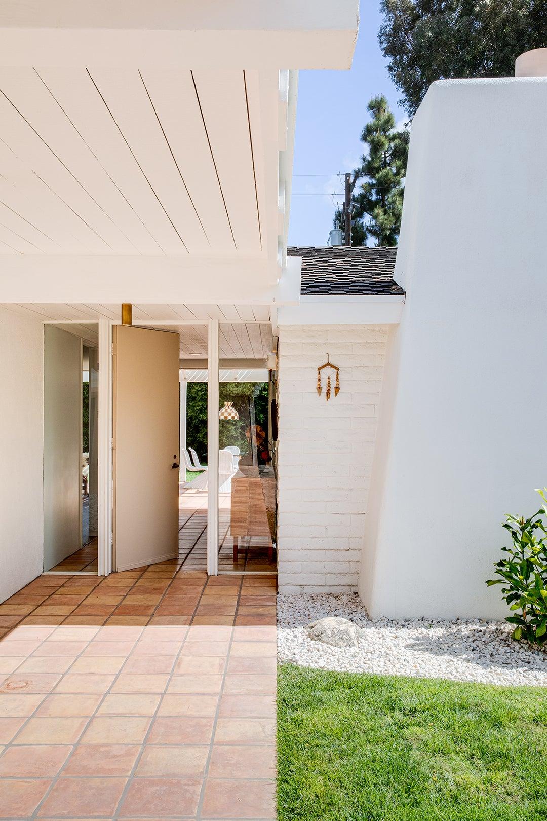 modern tiled outdoor entry