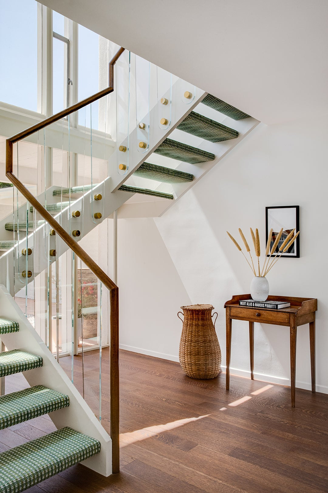 green carpeted stairs