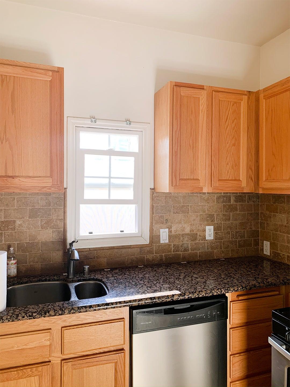 plain wood cabinets