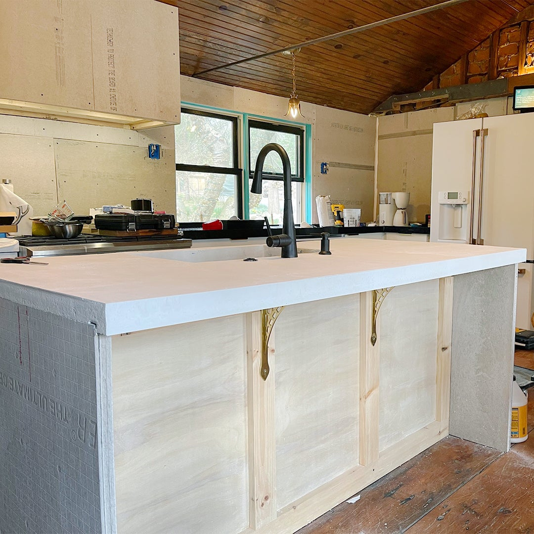 concrete kitchen island countertop in progress