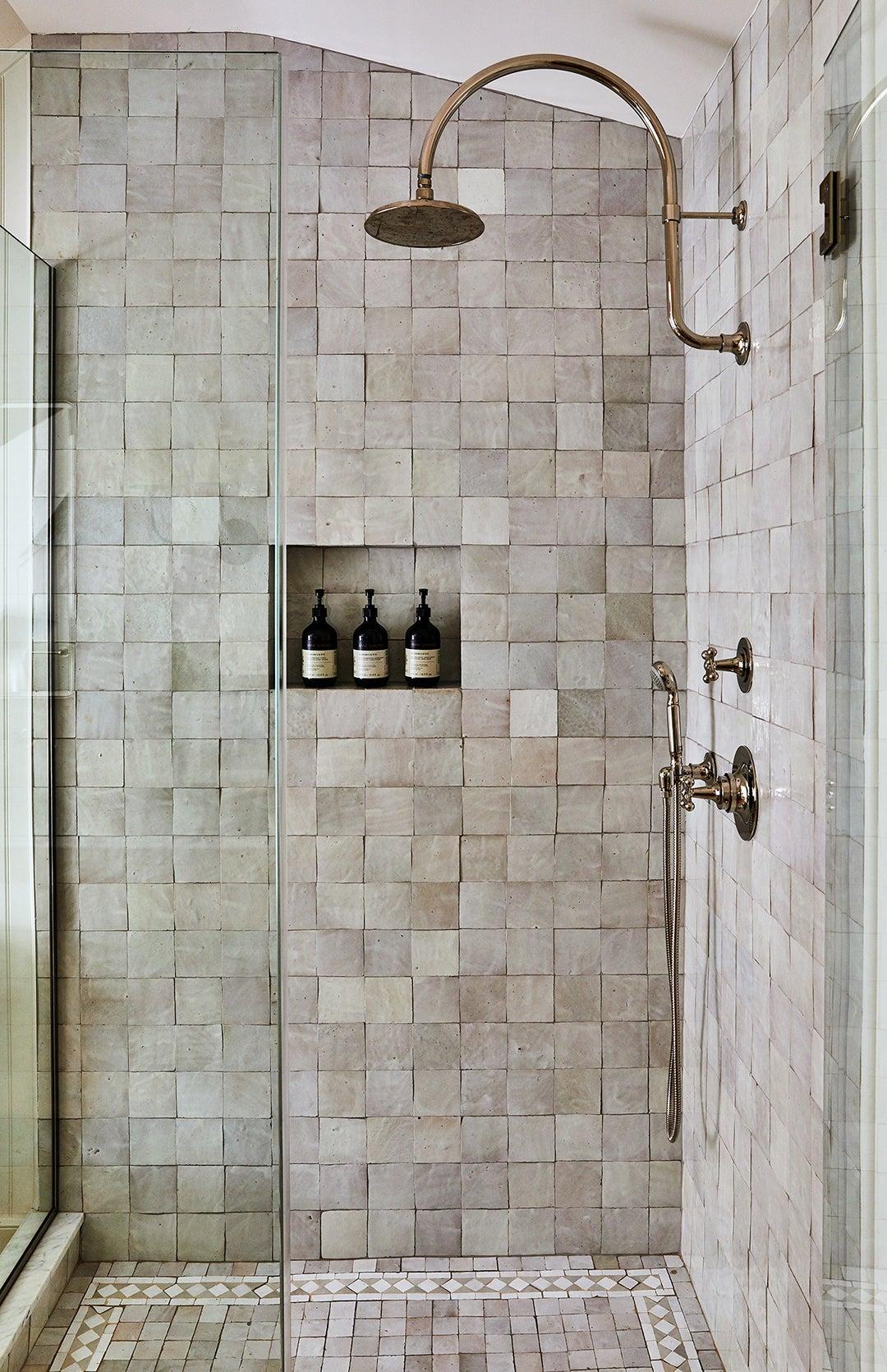 gray zellige tile shower