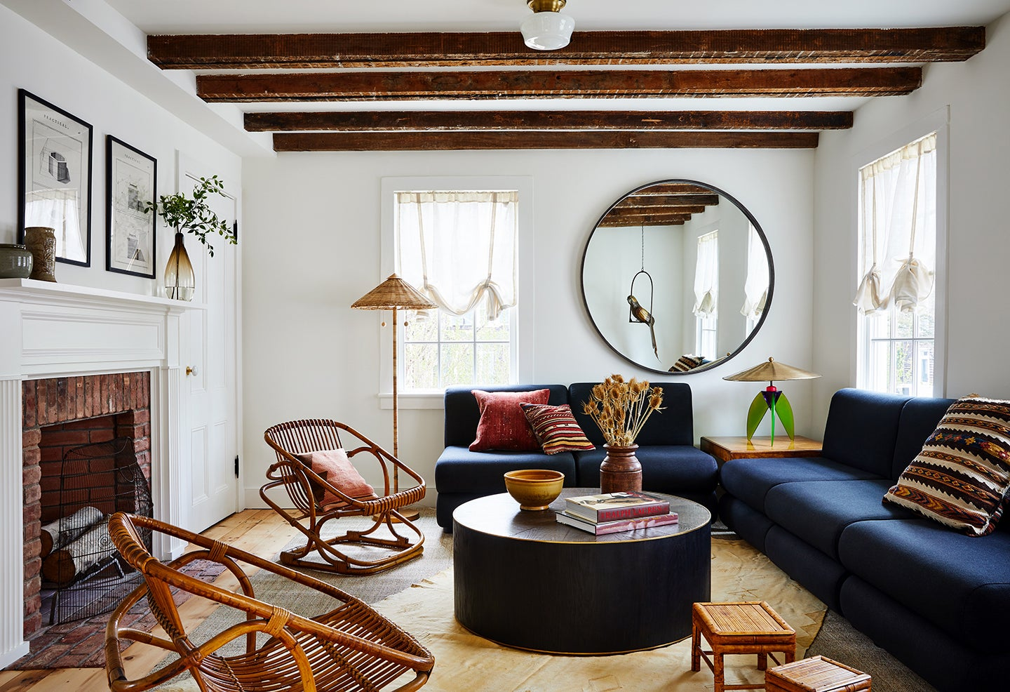 living room with navy sectional