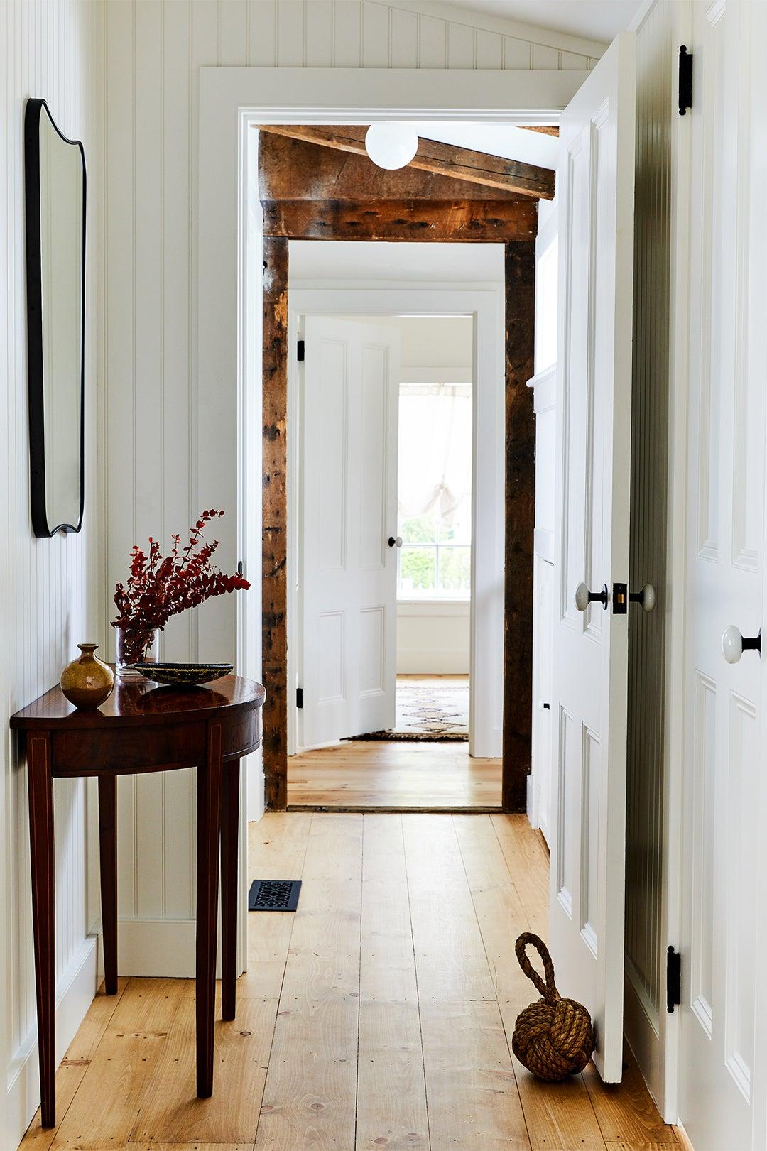 hallway with half-moon table