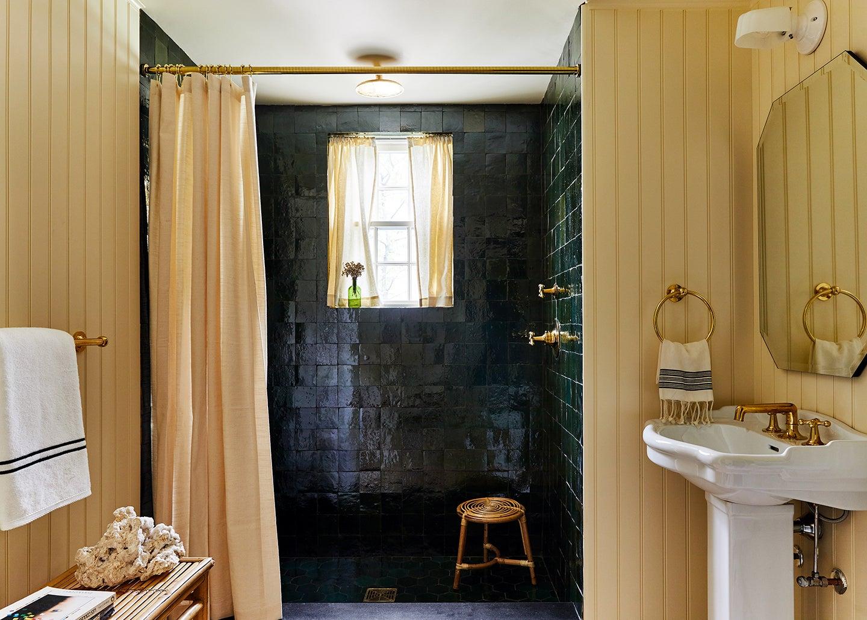 charcoal zellige tile shower
