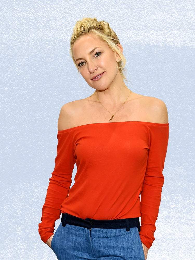 blond woman in red top