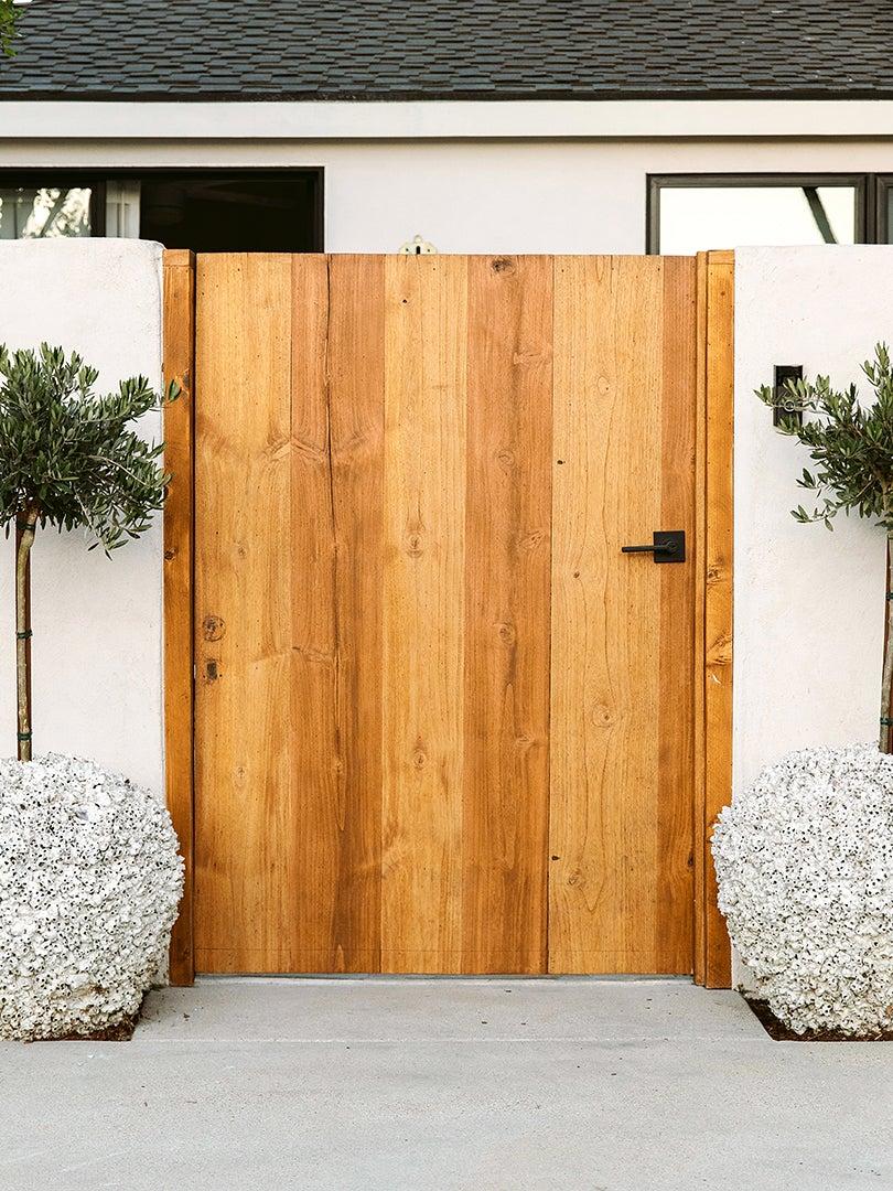 wood front gate door